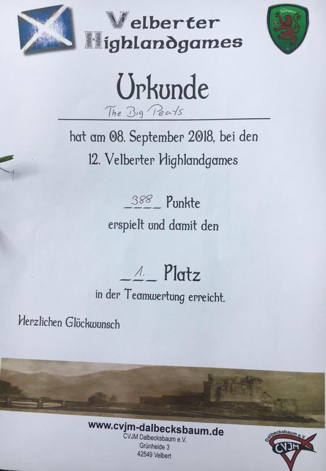 Urkunde Team Velbert HG 2018